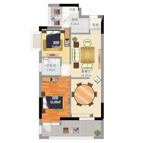 花都雅居乐花园2室2厅1卫1厨75.00㎡户型图
