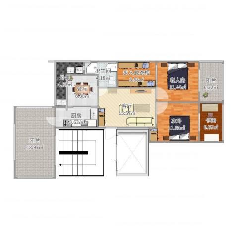 保利茉莉公馆别墅3室2厅1卫1厨97.59㎡户型图