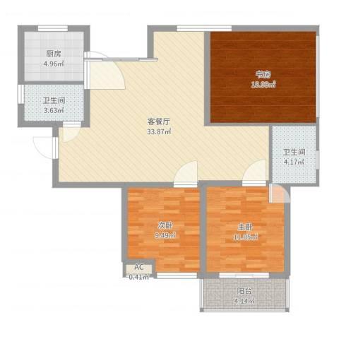 大唐东苑3室2厅2卫1厨110.00㎡户型图