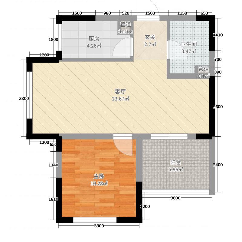 新华联青年城73.21㎡一期B10号楼G户型1室1厅1卫1厨