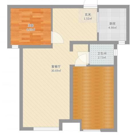 证大.大拇指广场1室2厅1卫1厨75.00㎡户型图