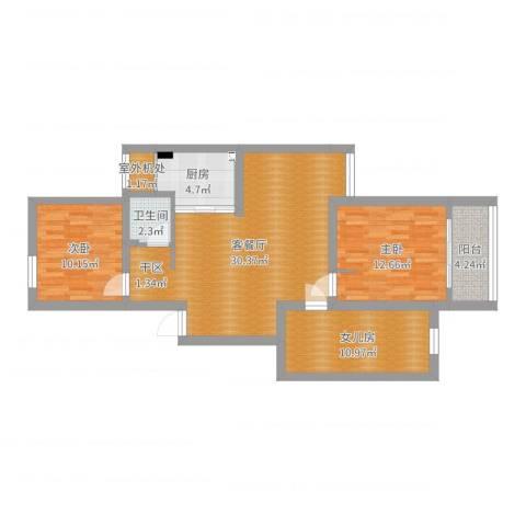 玉兰新村2室2厅1卫1厨96.00㎡户型图