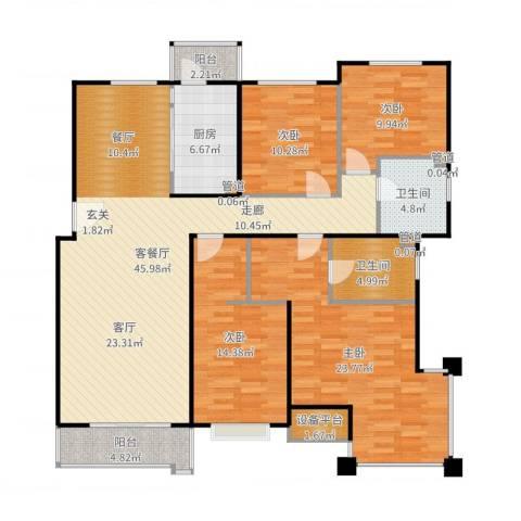 合景香悦四季4室2厅2卫1厨162.00㎡户型图