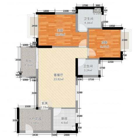 嘉信城市花园五期2室2厅2卫1厨89.00㎡户型图