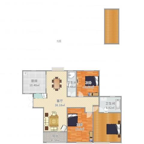 伯爵大地2室1厅2卫1厨151.00㎡户型图