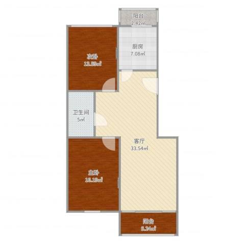 汇文名邸2室1厅1卫1厨104.00㎡户型图