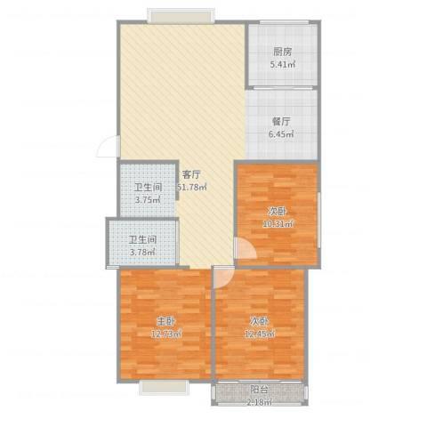 兴元嘉园2室1厅1卫1厨107.00㎡户型图
