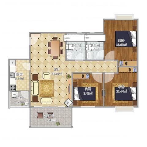 凤凰山居3室1厅2卫1厨114.00㎡户型图