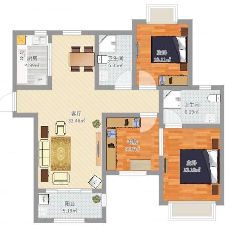 山湖花园3室1厅2卫1厨109.00㎡户型图
