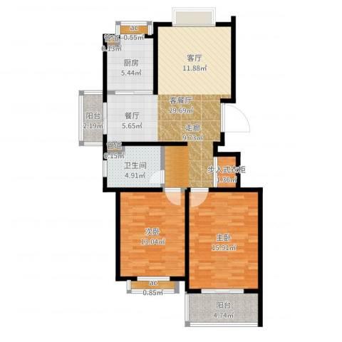 香缇郡2室2厅1卫1厨99.00㎡户型图