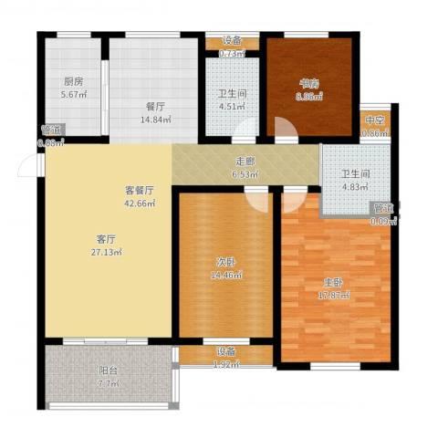 百盛花园3室2厅2卫1厨138.00㎡户型图