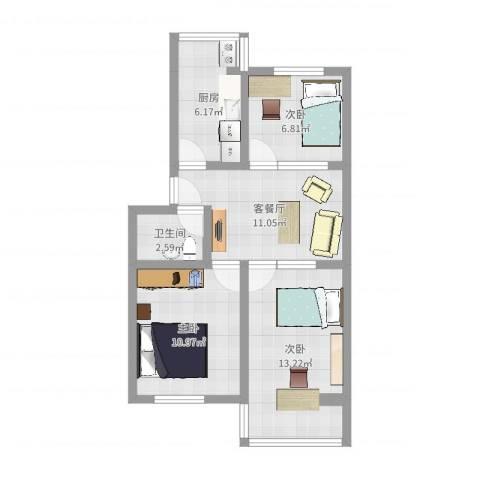 晨光小区3室2厅1卫1厨75.00㎡户型图