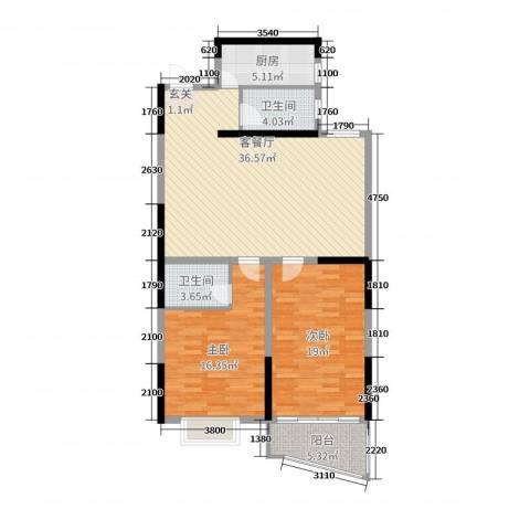 金满华府2室2厅2卫1厨113.00㎡户型图