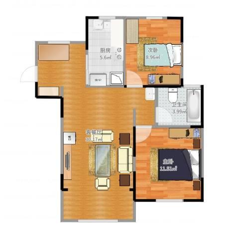 天池湾2室2厅1卫1厨75.00㎡户型图