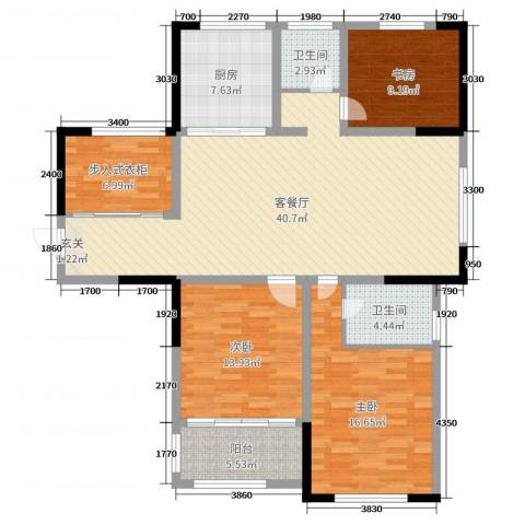 香格里拉花园3室2厅2卫1厨135.00㎡户型图