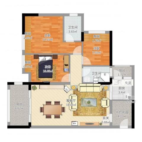 新怡・美丽家园3室2厅2卫1厨107.00㎡户型图