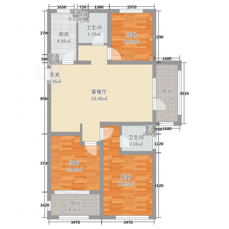 华融蓝海洋・望海105.50㎡1、7号楼K户型3室3厅2卫1厨