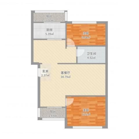 双花园南里一区2室2厅1卫1厨90.00㎡户型图