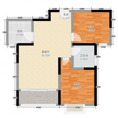 鸿泰嘉园三期2室2厅1卫1厨96.00㎡户型图