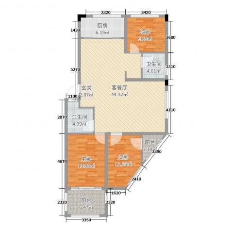 金满华府3室2厅2卫1厨128.00㎡户型图