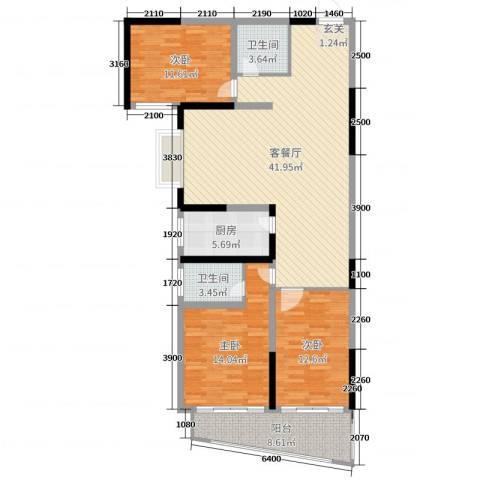 金满华府3室2厅2卫1厨127.00㎡户型图