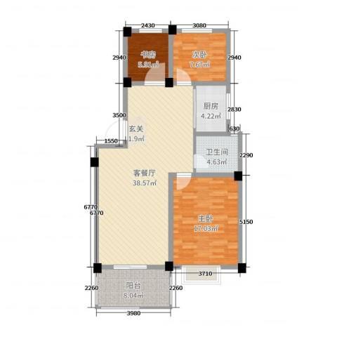 金满华府3室2厅1卫1厨108.00㎡户型图