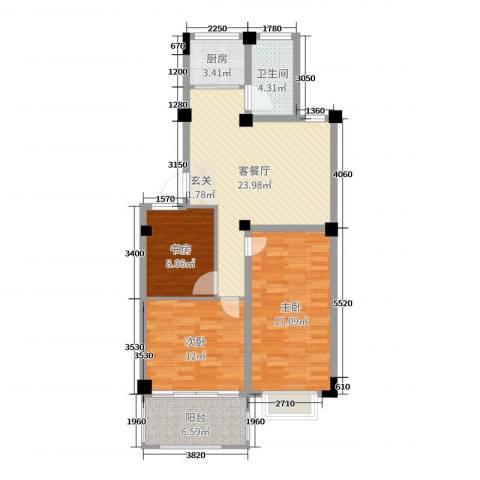 金满华府3室2厅1卫1厨97.00㎡户型图