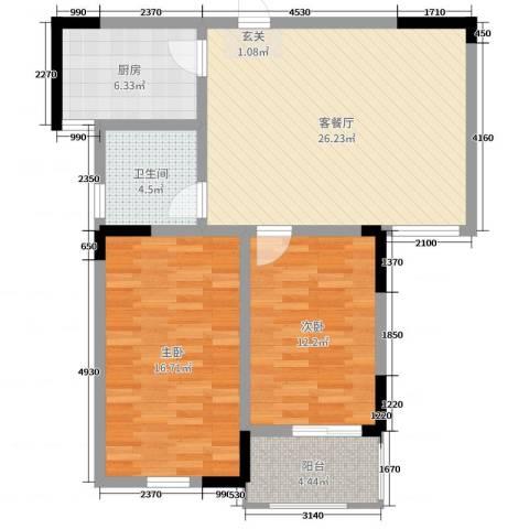 香格里拉花园2室2厅1卫1厨88.00㎡户型图
