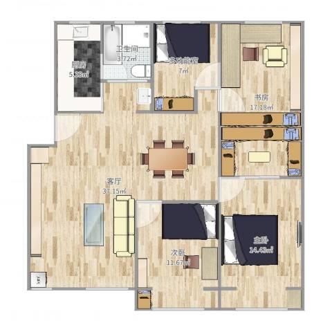 清涧四街坊3室1厅1卫1厨121.00㎡户型图