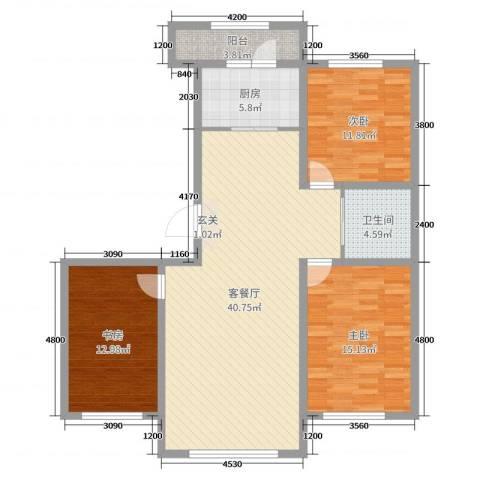 诺睿德国际商务广场3室2厅1卫1厨127.00㎡户型图