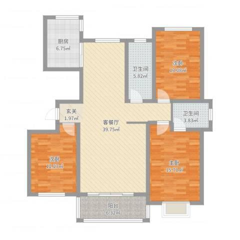 万豪华庭公馆3室2厅2卫1厨129.00㎡户型图
