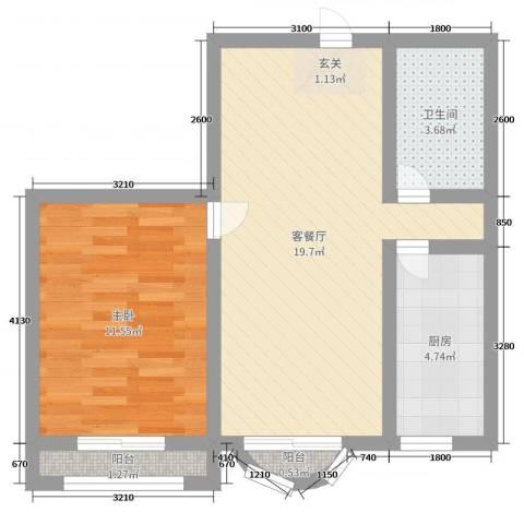 美地庄园1室2厅1卫1厨52.00㎡户型图