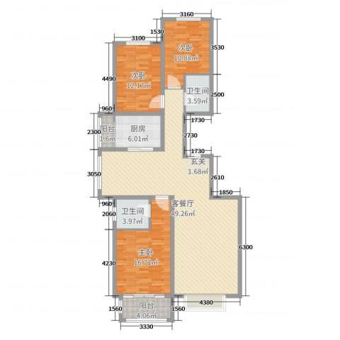 华丽家族3室2厅2卫1厨135.00㎡户型图