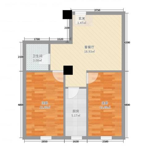 府兴雅园2室2厅1卫1厨74.00㎡户型图