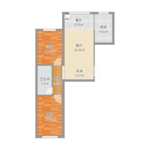 七彩时代广场二期2室1厅1卫1厨82.00㎡户型图
