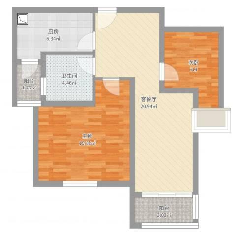浦江瑞和城2室2厅1卫1厨74.00㎡户型图