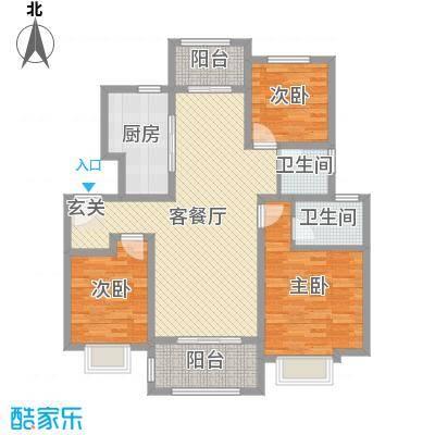 海亮・院里115.00㎡一期2-6#8#11#楼洋房标准层06户型3室3厅2卫1厨