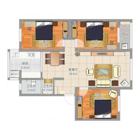 明月花园3室2厅1卫1厨119.00㎡户型图