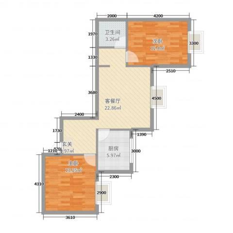 滨东花园二期2室2厅1卫1厨92.00㎡户型图