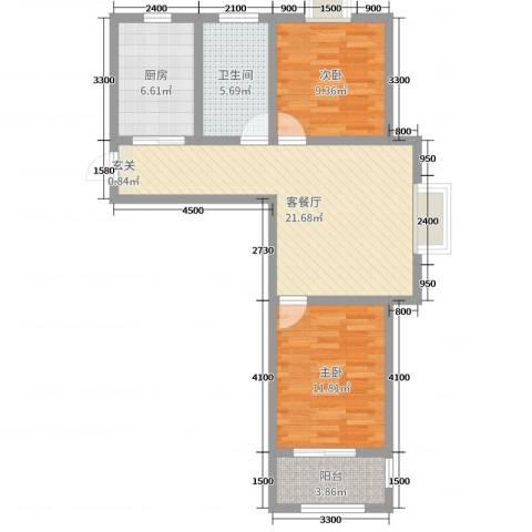 磁山温泉小镇2室2厅1卫1厨84.00㎡户型图
