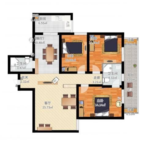 宏林名座3室2厅2卫1厨116.69㎡户型图