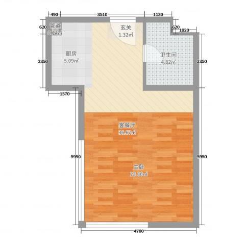 湖港名城2厅1卫0厨52.00㎡户型图