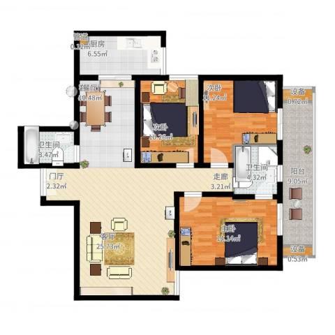宏林名座3室2厅2卫1厨146.00㎡户型图