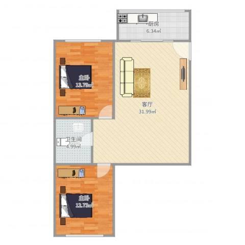 鸿博御园2室1厅1卫1厨87.00㎡户型图
