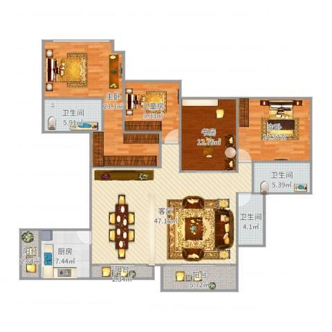 山语清晖花园4室1厅3卫1厨176.00㎡户型图