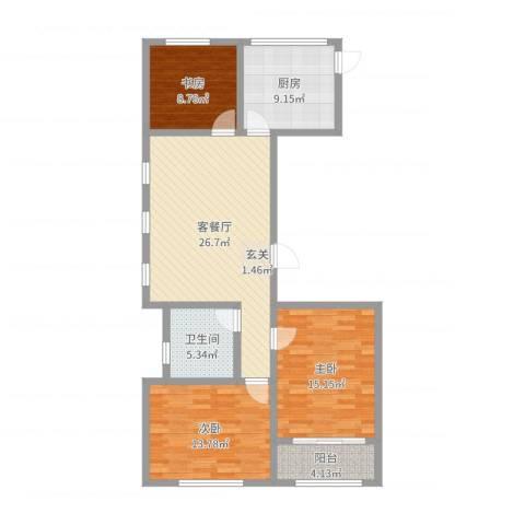 金马怡园3室2厅1卫1厨104.00㎡户型图