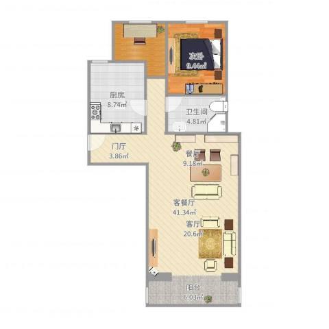 宝盛北里1室2厅1卫1厨87.00㎡户型图