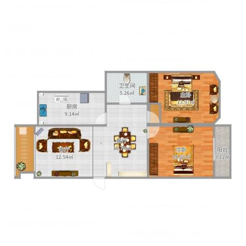欧典家园2室2厅1卫1厨98.00㎡户型图
