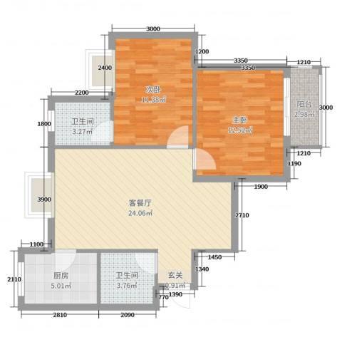 滨东花园二期2室2厅2卫1厨96.00㎡户型图