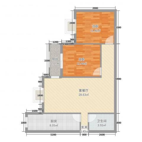 滨东花园二期2室2厅1卫1厨93.00㎡户型图